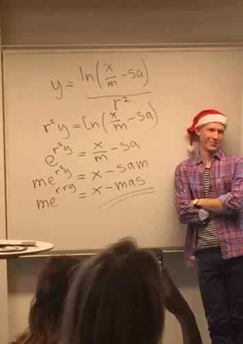 This math teacher solves for 'X'-mas