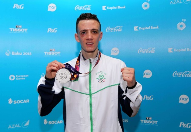 Brendan Irvine with his silver medal