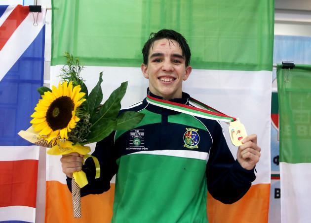 Michael Conlan celebrates winning a gold medal
