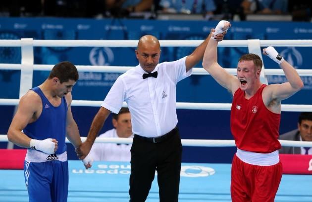 Michael O'Reilly celebrates after defeating Xaybula Musalov