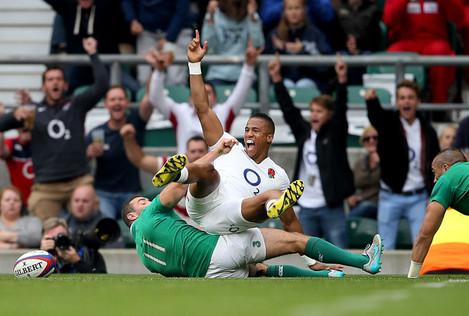 Anthony Watson celebrates his try