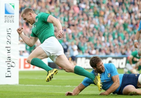 Keith Earls celebrates scoring a try