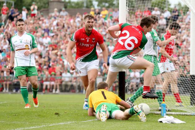 Cillian O'Connor celebrates with Aidan O'Shea