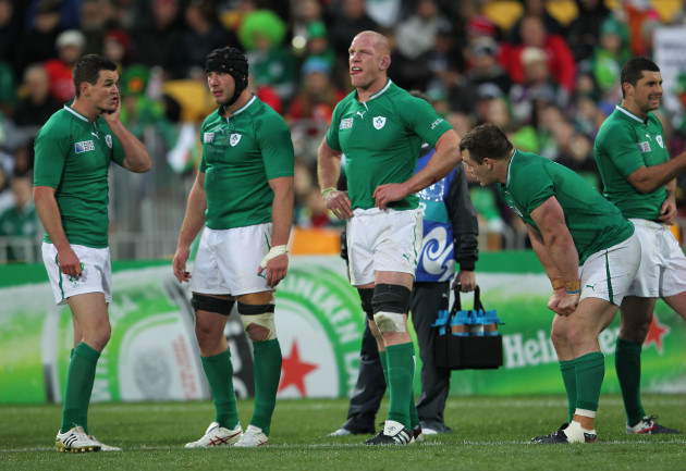 Jonathan Sexton Stephen Ferris Paul O'Connell and Cian Healy near the end of the game