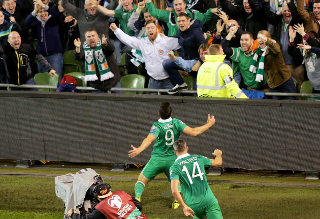 Shane Long celebrates in front of fans