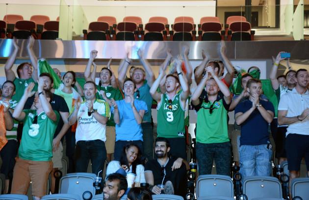 Ireland fans celebrate Michael Conlan's victory