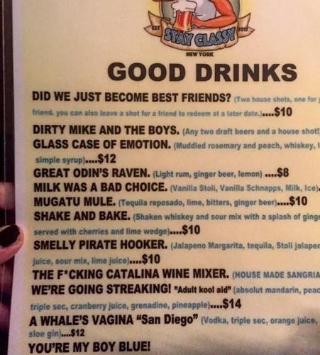 best drink menu ever