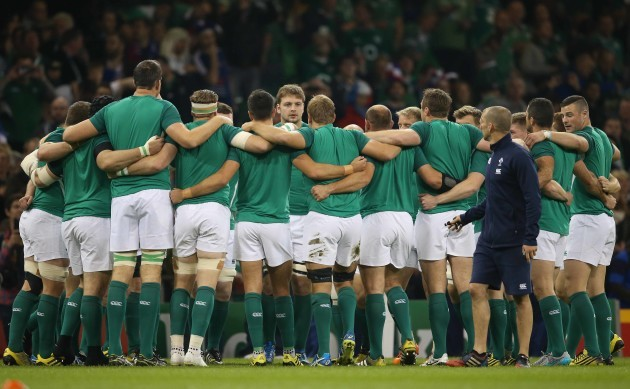 The Ireland team huddle before the match