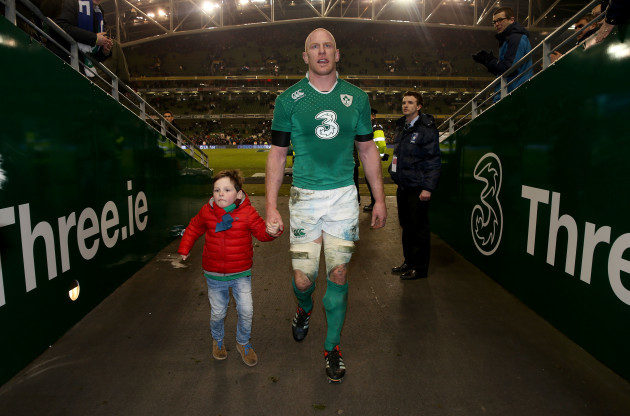 Paul O'Connell and his son Paddy after the game