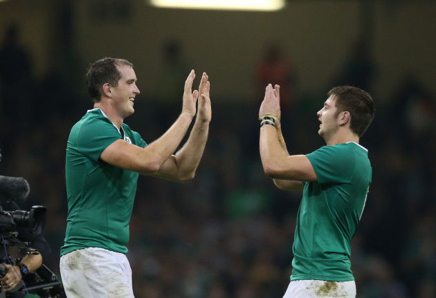 Devin Toner and Iain Henderson celebrate winning