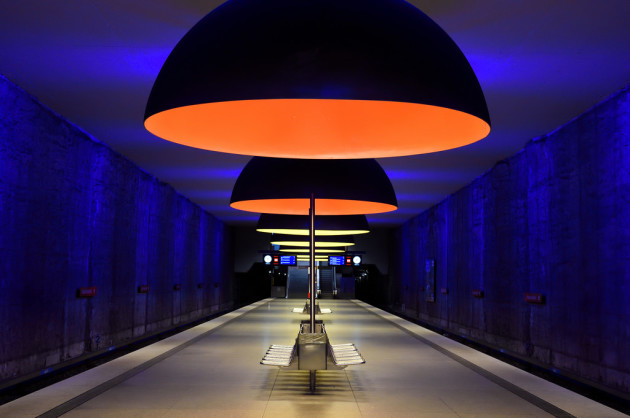 Westfriedhof U-Bahn platform in Munich, Germany