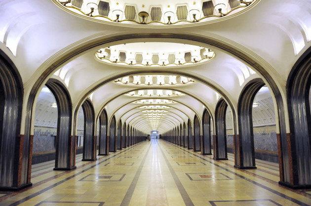Moscow Metro platform at the Mayakovskaya station