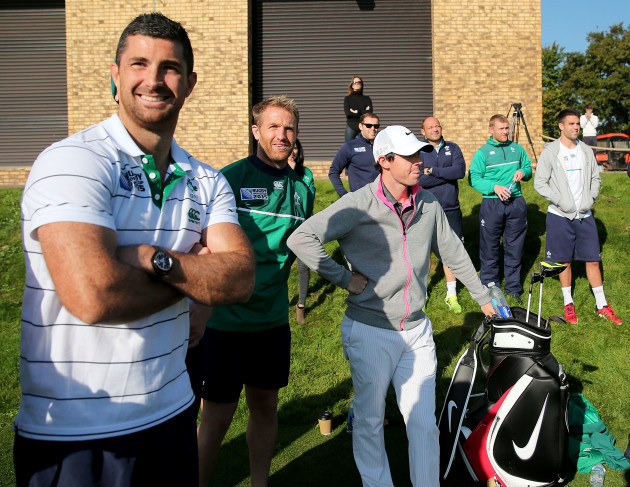 Rory McIlroy shows some Irish players a few tips