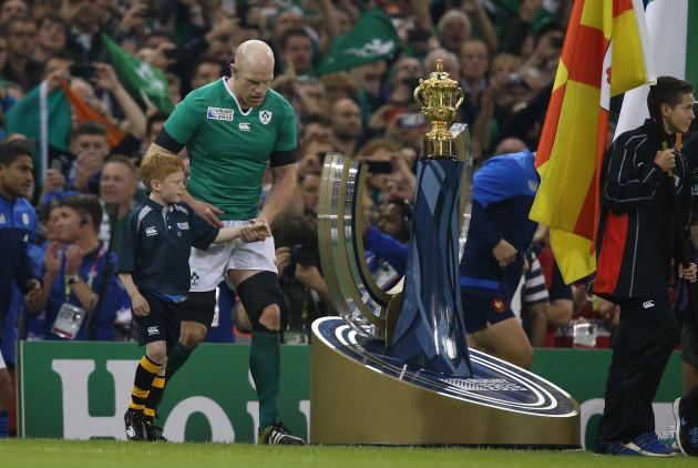 IrelandÕs Paul O'Connell walks out past the Webb Ellis Trophy