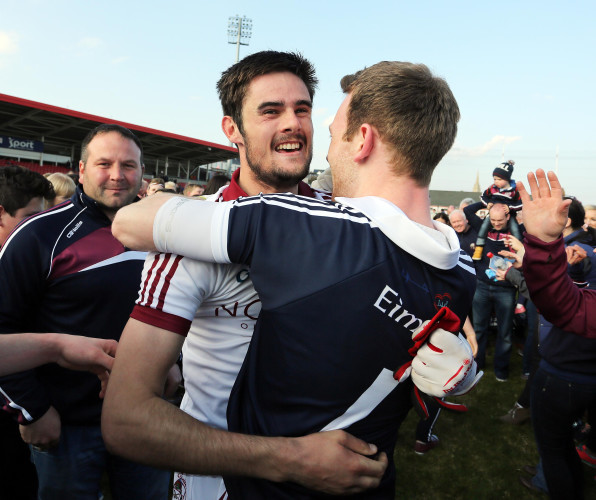 Christopher McKaigue and Antoin McMullan celebrate winning