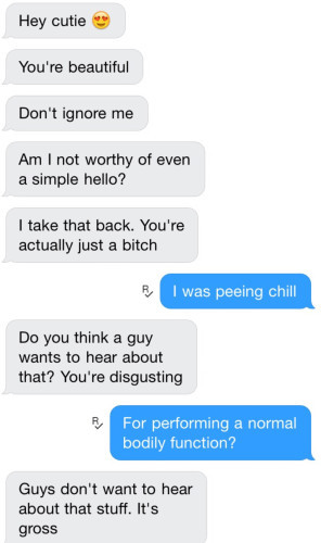 This girl freaked a guy out on Tinder by informing him that women pee