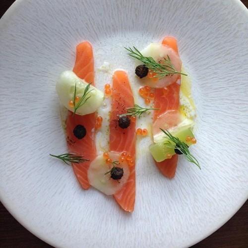 Cured Irish salmon with cucumber and caviar