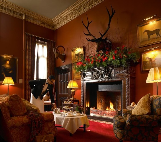 Fireplace in the lounge area at Dromoland Castle in County Clare.