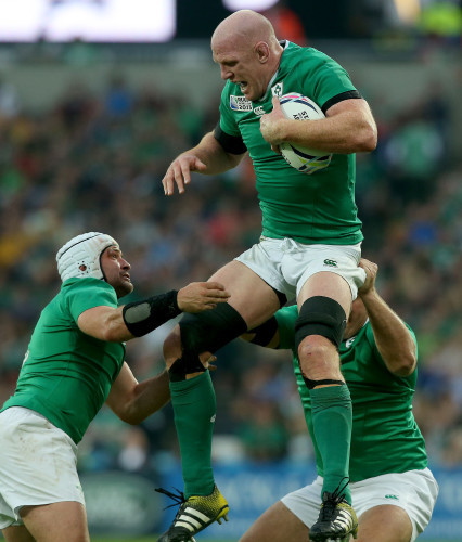 Paul O'Connell with Rory Best and Nathan White