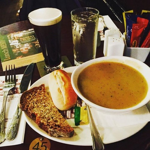 #Guinness is so good! The vegetable #soup and #sodabread weren't bad, either. #firstmeal #ireland #pub #dohenynesbitt #food