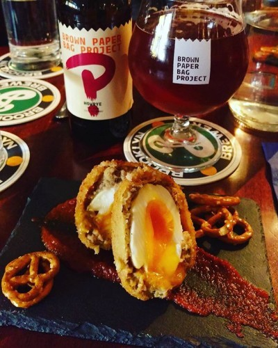 This is an #Oktoberfest egg ^.^ #smithfieldmarket #foodfestival #hipster #noms #craftbeer