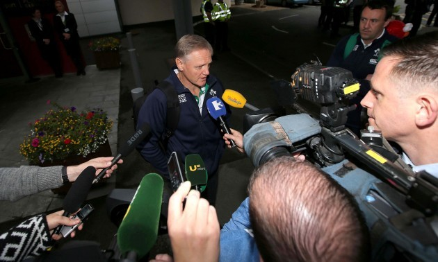 Joe Schmidt speaks to the media