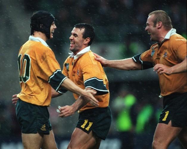 Stephen Larkham , Joe Roff and Richard Harry 30/10/1999