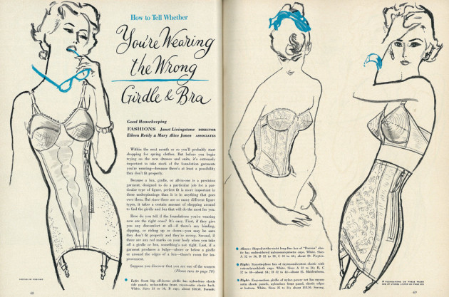 Illustrated 1958 Magazine Feature, How to Tell Whether You're Wearing the Wrong Girdle & Bra (2 pages)