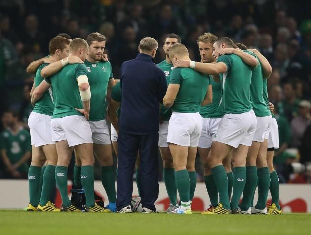 IrelandÕs head coach Joe Schmidt before the match in a team huddle