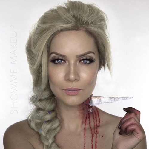 Here is the 5th and final of my 5 twisted Disney Princesses for the Velour Lashes Halloween Pop-Up Event! In this 'Happily Never After' Elsa's powers backfire, impaling her own neck with an icicle and leaving her with frost bitten fingers