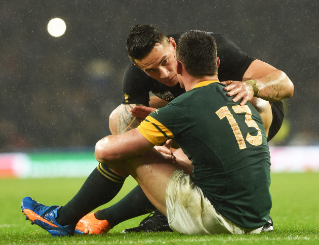 Sonny Bill Williams consoles Jesse Kriel after the game