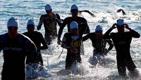 Category 1 athletes complete the swim section