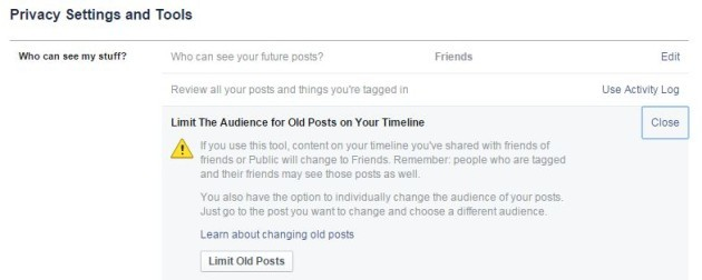 Facebook limit past posts