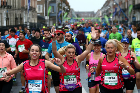 Competitors after the start of the Dublin Marathon