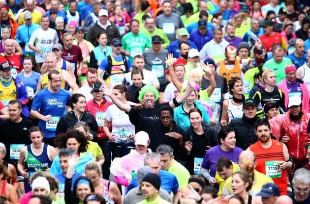 Competitors during the start of the Dublin Marathon