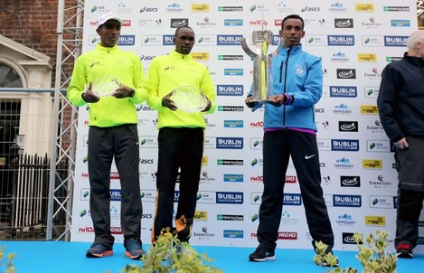 Alemu Gemechu, Francis Ngare and Asefa Bekele on the podium