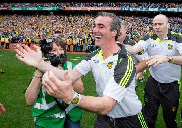 Jim McGuinness celebrates the final whistle