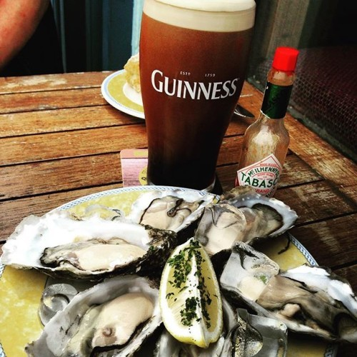 Perfect combo....pint of the black stuff and these beauts #Guinness #Oysters #Galway #InstaIreland