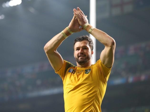 AustraliaÕs Adam Ashley-Cooper applauds the fans after the match