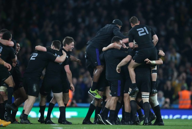 New Zealand celebrate at the end of the match