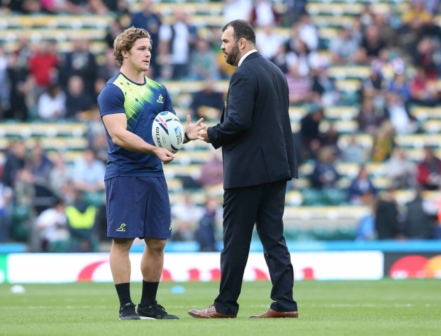 Michael Hooper and Michael Cheika before the match