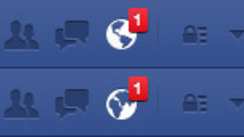 The Facebook notification icon changes depending on where you're from
