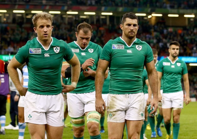 Luke Fitzgerald, Rhys Ruddock and Rob Kearney dejected after the game