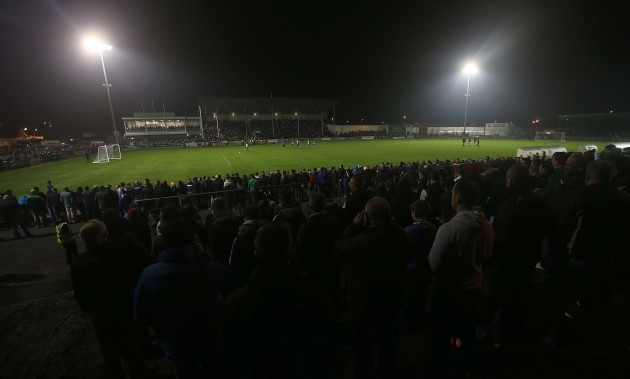 A view of the large crowd at the game