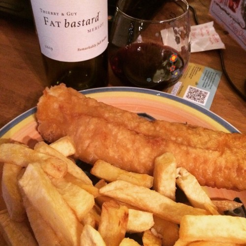 Finally!! Fish and Chips! I've been holding out but after a long day walking around in town it was time! Adequately named wine to go with