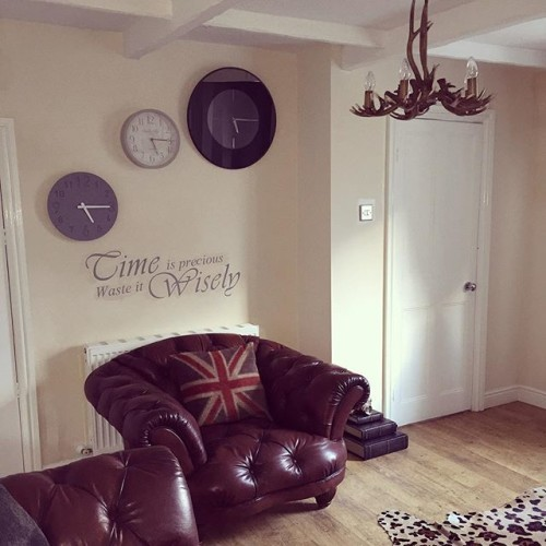 Living room - part two #Home #Clocks #WallQuote #Chesterfield #UnionJack #DFS #Oskar #TimeIsPrecious #WasteItWisely #Antler #Next #NextHome #Love #Interior #Design #MyHouse #MyHome #LoveMyHome #Style