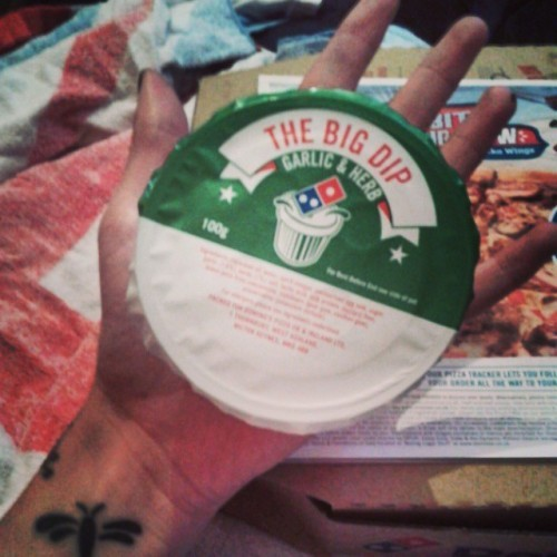 This is what I have been waiting for #itsabouttime #dominos #dominosgarlicandherbdip #thebigdip #omg #pizza