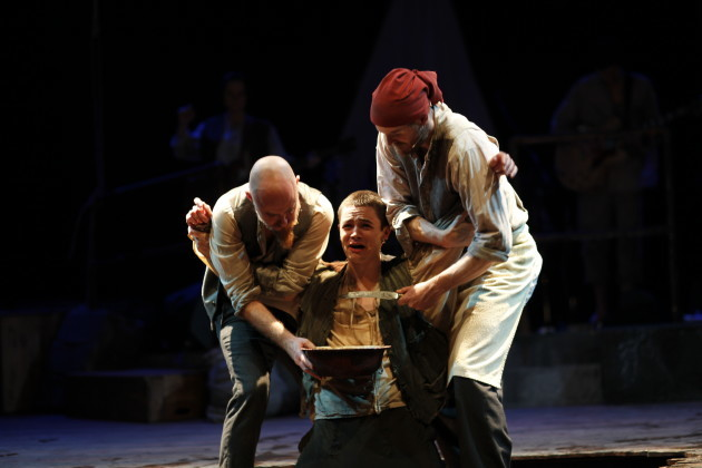 James Blake Steohen O Leary Damien Devaney in The Unlucky Cabin Boy by Mike Finn Music & Lyrics by David Blake Directed by Paul Meade Photo by Tom Lawlor