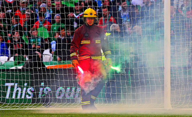 A flare is removed from the pitch