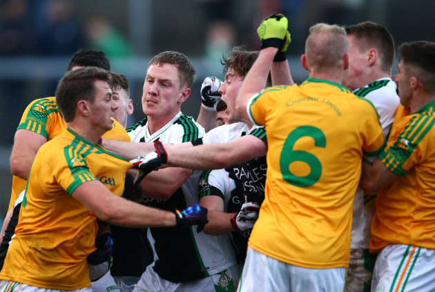 A scuffle breaks out amongst the Killarney Legion and South Kerry players
